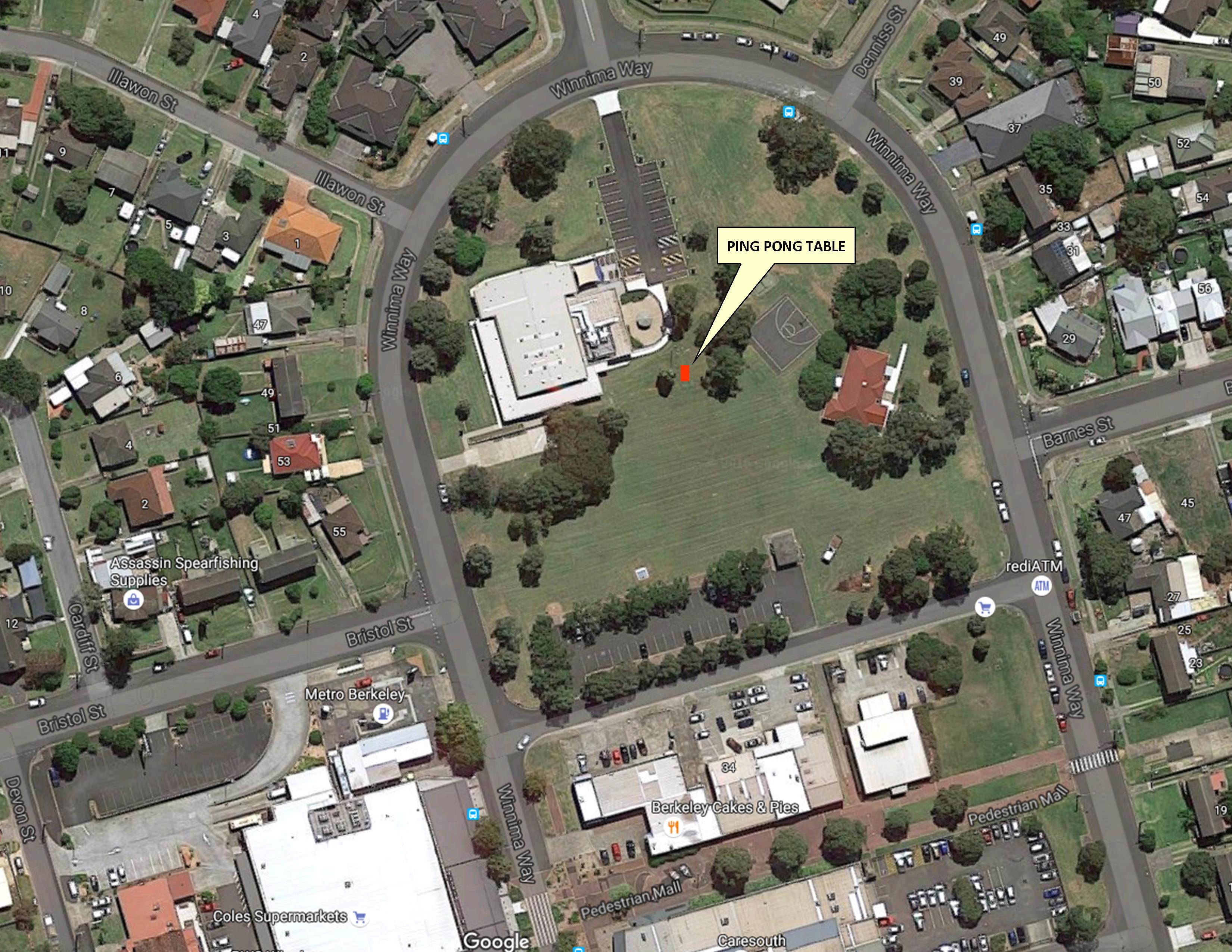Aerial view of Berkeley Community Centre